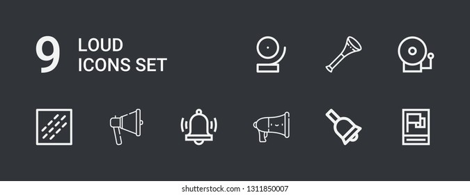 Editable 9 loud icons for web and mobile. Set of loud included icons line Propaganda, Bell, Speaker, Alarm, Megaphone, Noise, Alarm bell, Vuvuzela on dark background
