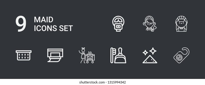 Editable 9 maid icons for web and mobile. Set of maid included icons line Door hanger, Dust, Dustpan, Housekeeping, Wipes, Laundry basket, Maid, Parking meter on dark background