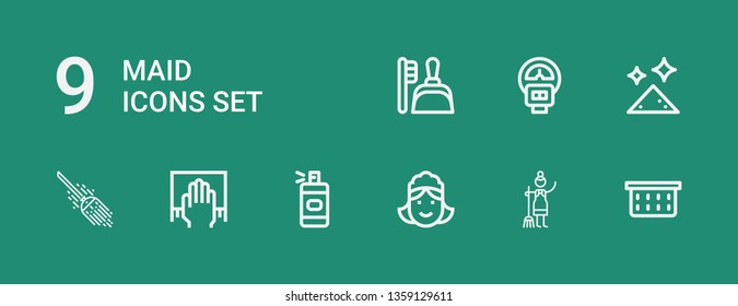 Editable 9 maid icons for web and mobile. Set of maid included icons line Laundry basket, Maid, Spray bottle, Cleaning, Broom, Dust, Parking meter, Dustpan on green background
