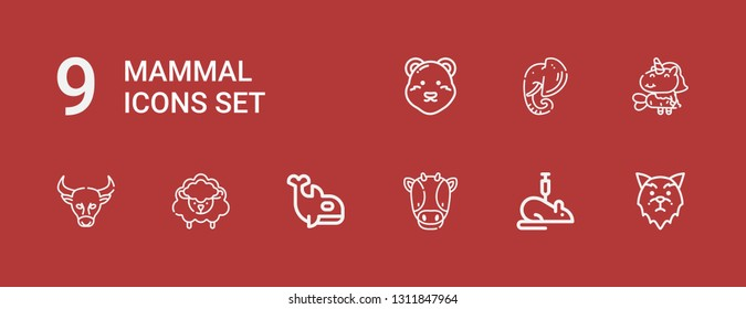 Editable 9 mammal icons for web and mobile. Set of mammal included icons line Wolf, Rat, Cow, Orca, Sheep, Buffalo, Unicorn, Elephant, Polar bear on red background