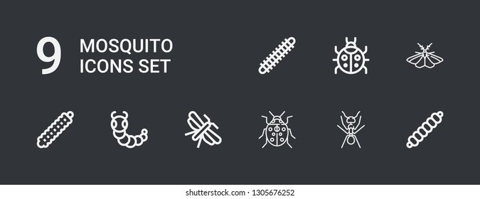 Editable 9 mosquito icons for web and mobile. Set of mosquito included icons line Caterpillar, Ant, Ladybug, Moth, Centipede on dark background