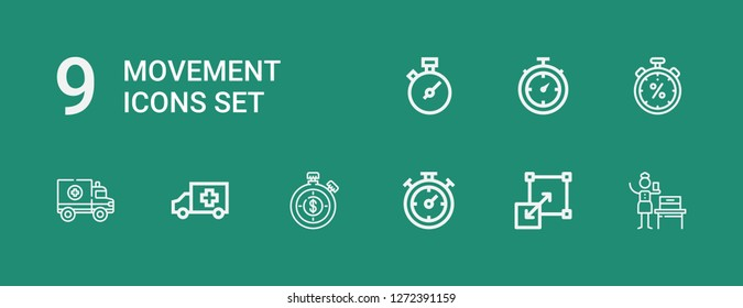Editable 9 movement icons for web and mobile. Set of movement included icons line Woman suffrage, Stretching, Chronometer, Stopwatch, Ambulance on green background