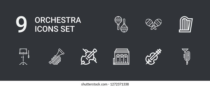 Editable 9 orchestra icons for web and mobile. Set of orchestra included icons line Trumpet, Violin, Philharmonic, Cello, Orchestra, Harp, Maracas, Maraca on dark background