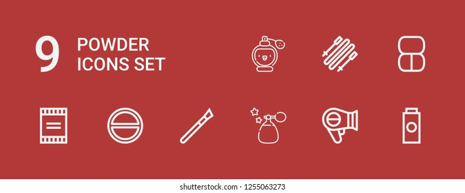 Editable 9 powder icons for web and mobile. Set of powder included icons line Baby powder, Hairdryer, Perfume, Makeup, Salt, Powder, Skii on red background