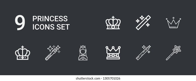 Editable 9 princess icons for web and mobile. Set of princess included icons line Magic wand, Crown, Wand on dark background