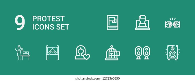 Editable 9 protest icons for web and mobile. Set of protest included icons line Loudspeaker, Freedom, Women rights, Placard, Woman suffrage, Fist, Propaganda on green background