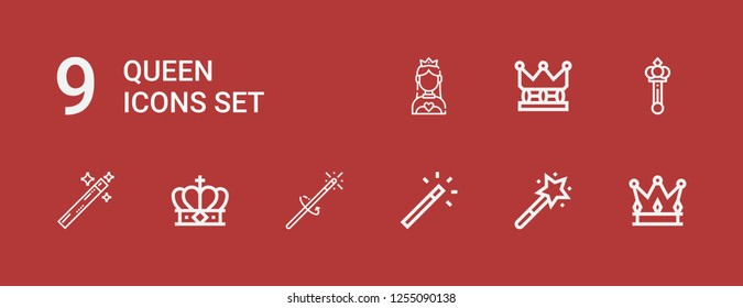 Editable 9 queen icons for web and mobile. Set of queen included icons line Crown, Magic wand, Scepter, Miss world on red background