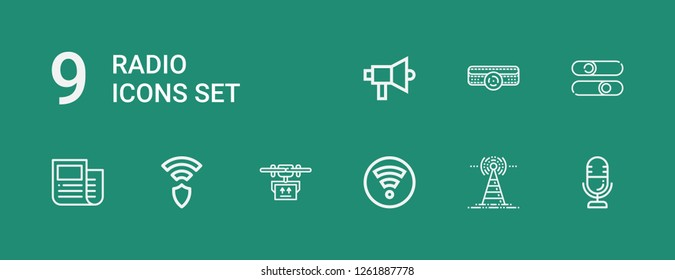 Editable 9 radio icons for web and mobile. Set of radio included icons line Microphone, Antenna, Wifi, Drone, Wireless, News, Sliders, Amplifier, Megaphone on green background