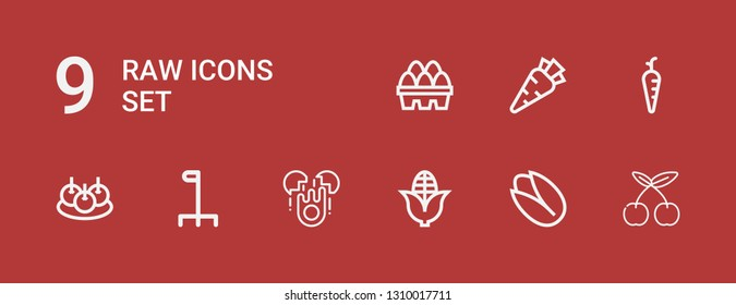 Editable 9 raw icons for web and mobile. Set of raw included icons line Cherry, Pistachio, Corn, Egg, Cane, Bitterballen, Carrot, Eggs on red background