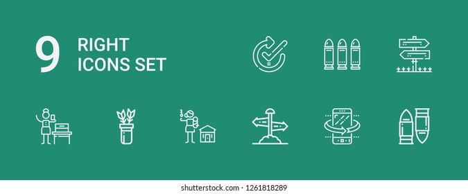 Editable 9 right icons for web and mobile. Set of right included icons line Bullet, Tilt, Direction sign, Human rights, Arrows, Woman suffrage, Sign Post, Bullets on green background