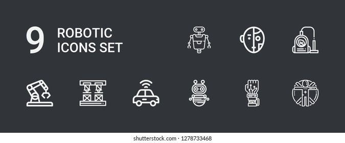 Editable 9 robotic icons for web and mobile. Set of robotic included icons line Transhumanism, Mechanical arm, Robot, Autonomous car, Robot arm, Vacuum on dark background