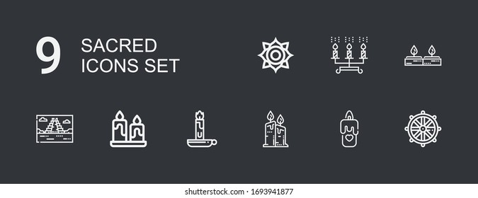 Editable 9 sacred icons for web and mobile. Set of sacred included icons line Dharma wheel, Candle, Candles, Mayan pyramid, Chakra on dark background