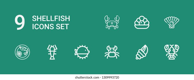 Editable 9 shellfish icons for web and mobile. Set of shellfish included icons line Lobster, Seashell, Crab, Puffer fish, Prawn, Oyster, Pearl on green background