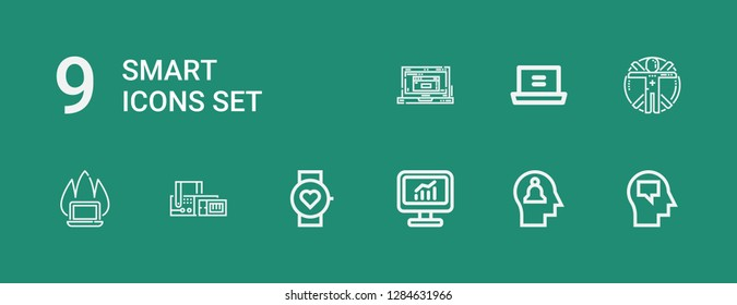 Editable 9 smart icons for web and mobile. Set of smart included icons line Mind, Computer, Smartwatch, Scan, Laptop, Transhumanism on green background