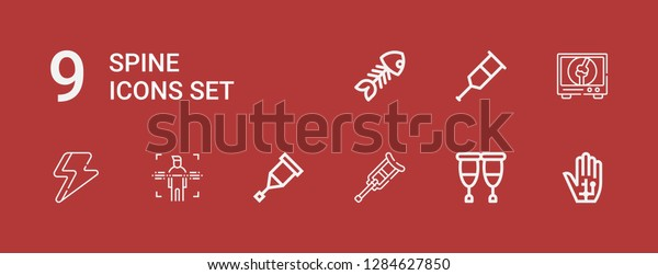 Editable 9 Spine Icons Web Mobile Stock Vector (Royalty Free