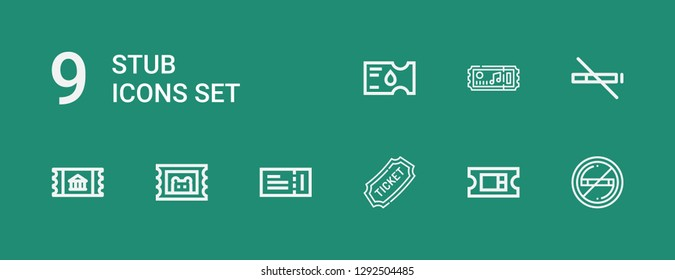 Editable 9 stub icons for web and mobile. Set of stub included icons line No smoking, Ticket, No smoke, Tickets on green background