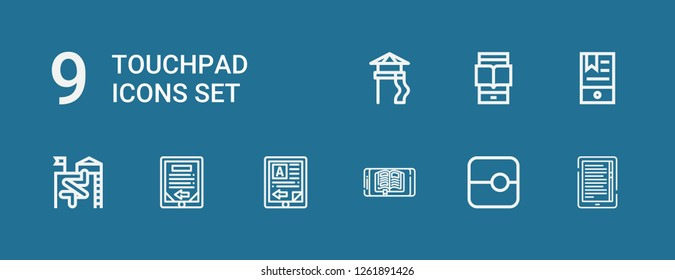Editable 9 touchpad icons for web and mobile. Set of touchpad included icons line Ebook, Slide, Ereader on blue background
