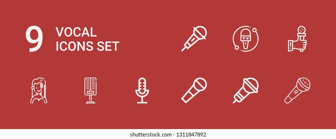 Editable 9 vocal icons for web and mobile. Set of vocal included icons line Microphone, Singer on red background