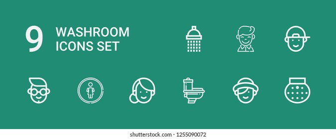 Editable 9 washroom icons for web and mobile. Set of washroom included icons line Shower, Woman, Toilet, Restroom, Boy on green background