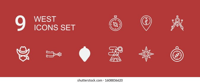 Editable 9 west icons for web and mobile. Set of west included icons line Compass, Windrose, Indian tent, Spur, Cowboy on red background