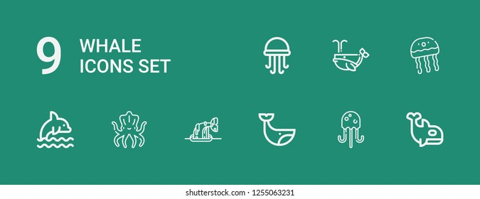 Editable 9 whale icons for web and mobile. Set of whale included icons line Orca, Jellyfish, Whale, Kraken, Dolphin on green background