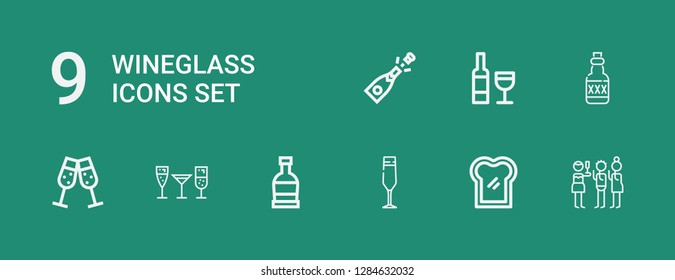 Editable 9 wineglass icons for web and mobile. Set of wineglass included icons line Toast, Champagne glass, Rum, Stemware, Champagne, Wine on green background