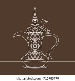 Editable Antique Dallah Arabic Coffee Pot Vector Illustration with Outline Style