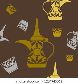 Editable Arabian Dallah Coffee Pot and Finjan Cup Vector Illustration Seamless Pattern in Flat Style