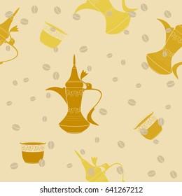 Editable Arabic Coffee Vector Illustration Seamless Pattern
