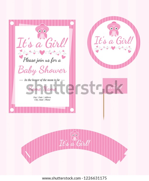 Editable Baby Shower Invitation Template Party Stock Vector Royalty