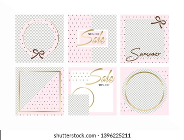Editable background design template on pink style with brown dots and gold sale text