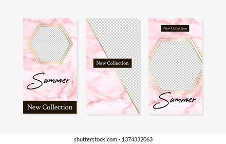 Editable background stories design template on marble pink background.