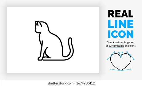 Editable black stroke weight line icon of a cat sitting in full body view from the side with his front and back paw on the ground and a side profile on his head with his tail in the air looking down