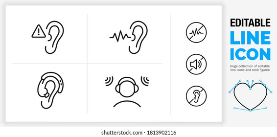 Editable black stroke weight line icon set of hearing damage or aid caused by loud volume defect in the ear with a warning sign, sound wave and noise canceling headphone for construction in eps vector