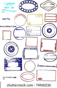 Editable Blank Passport Stamp Vector Graphics