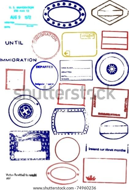 Editable Blank Passport Stamp Vector Graphics Stock Vector
