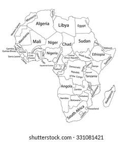 Africa Map Blank Images, Stock Photos & Vectors | Shutterstock