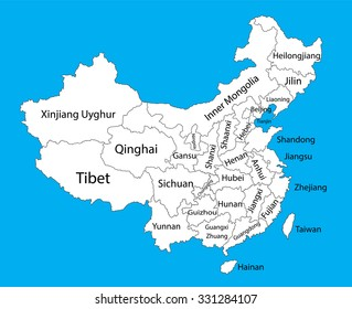 Editable blank vector map of  China. Vector map of China isolated on background. High detailed. Autonomous communities of China. Administrative divisions of China counties, separated provinces.