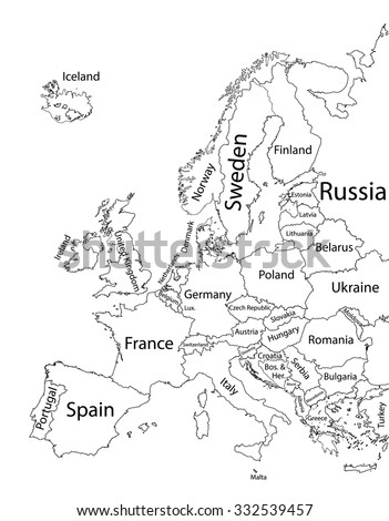 Map Of Europe With Provinces.Editable Blank Vector Map Europe Vector Stock Vector Royalty Free