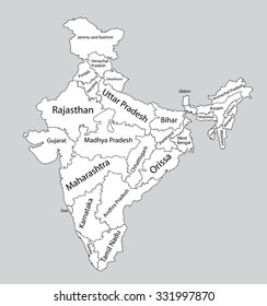 Editable blank vector map of India. Vector map of India isolated on background. High detailed. Autonomous communities of India. Administrative divisions of India, separated provinces. outline map.