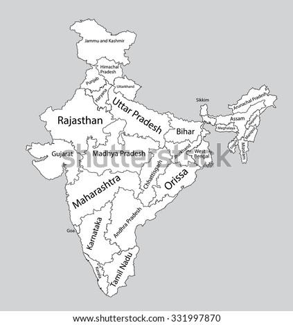 Editable Blank Vector Map India Vector Stock Vector (Royalty Free ...