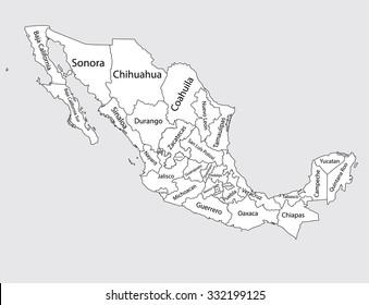 Editable Blank Vector Map Silhouette Mexico Stock Vector 2018