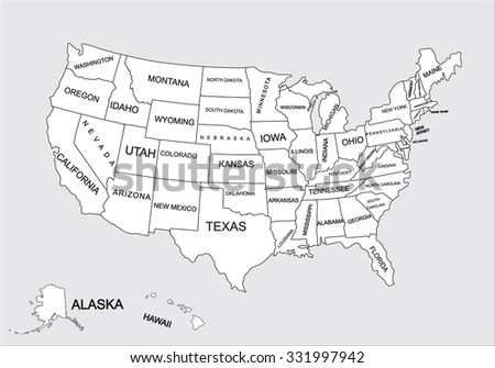editable blank vector map united states stock vector royalty free