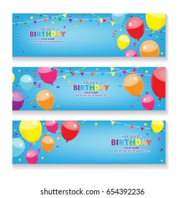Editable blue horizontal happy birthday banner with balloon and confetti decoration set.