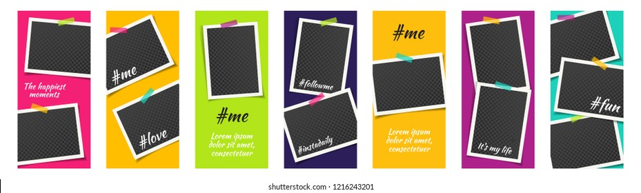 Editable Bright Social Network Stories Template Set with Photo Frames and Adhesive Tapes, Color Stickers for Sale. Vector mock up, Multicolored Story Collection.