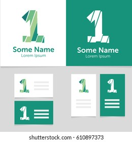 Editable business card template with 1 number logo.Vector illustration.EPS10.