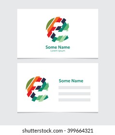 Editable business card template with illustration of vector e letter logo