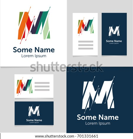 Editable business card template m letter stock vector royalty free editable business card template with m letter logoctor illustrationeps10 wajeb Gallery