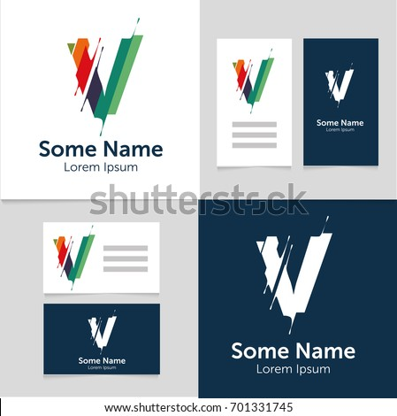 Editable business card template v letter stock vector royalty free editable business card template with v letter logoctor illustrationeps10 fbccfo Gallery