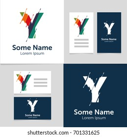 Editable business card template with Y letter logo.Vector illustration.EPS10.